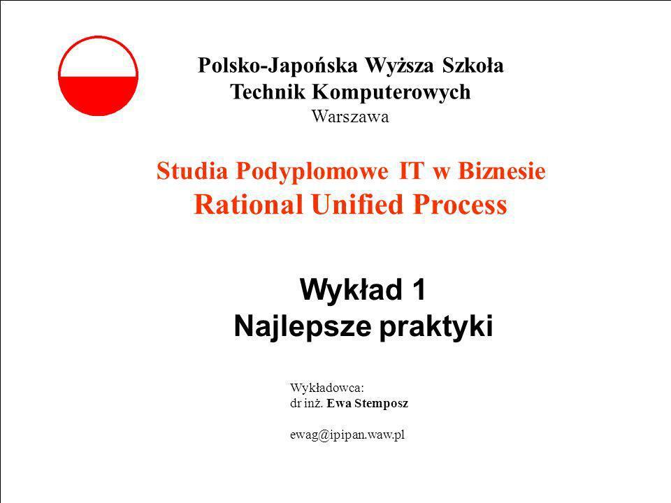 E. Stemposz. Rational Unified Process, Wykład 1, Slajd 1 wrzesień 2002 Studia Podyplomowe IT w Biznesie Rational Unified Process Wykład 1 Najlepsze pr