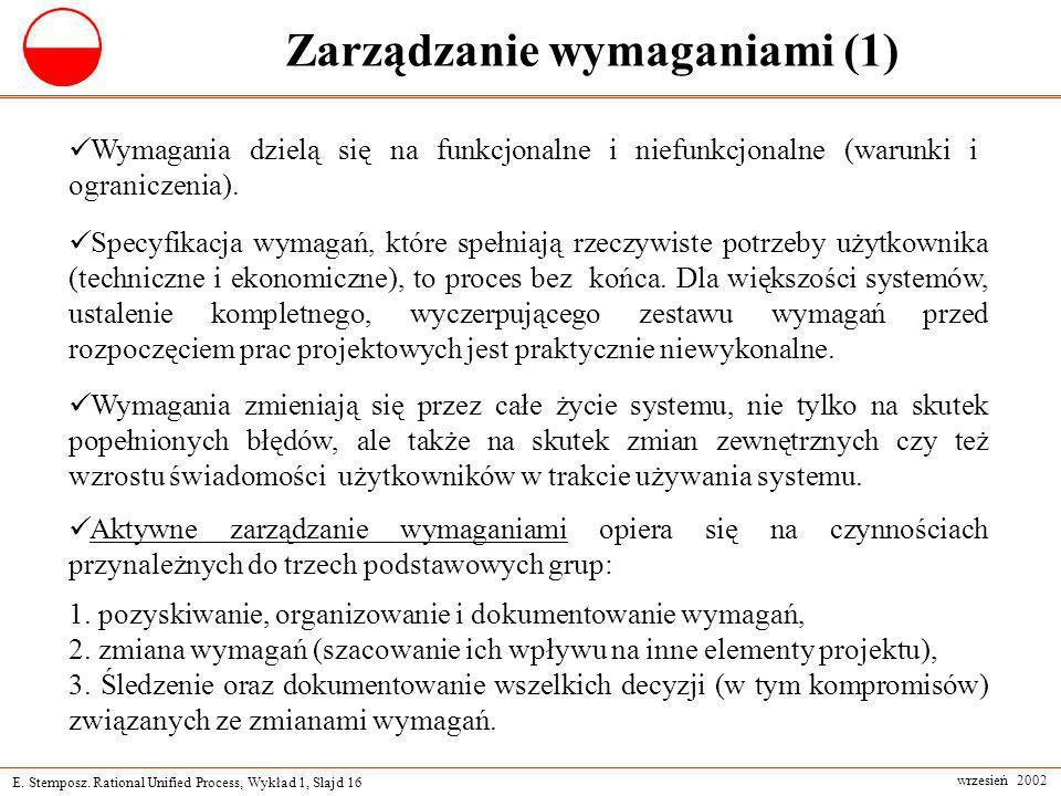 E. Stemposz. Rational Unified Process, Wykład 1, Slajd 16 wrzesień 2002 Zarządzanie wymaganiami (1) Wymagania dzielą się na funkcjonalne i niefunkcjon