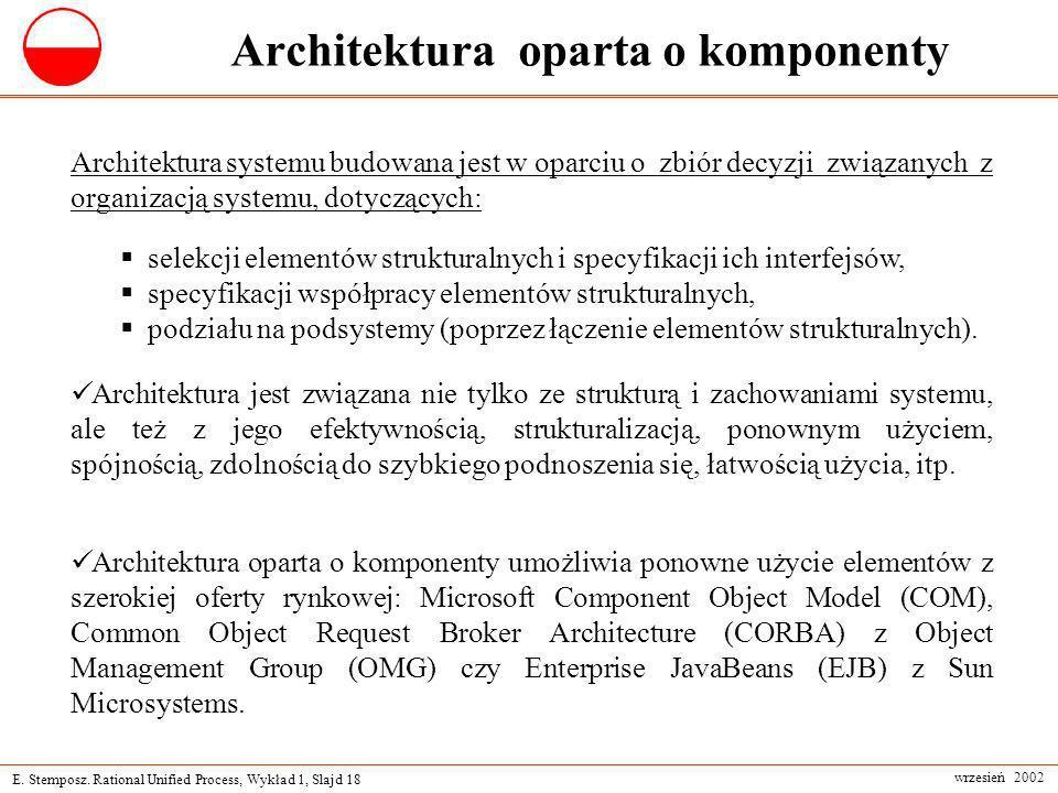 E. Stemposz. Rational Unified Process, Wykład 1, Slajd 18 wrzesień 2002 Architektura oparta o komponenty Architektura oparta o komponenty umożliwia po