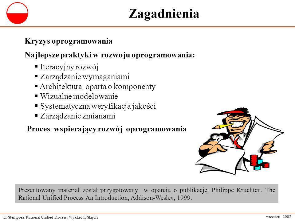 E. Stemposz. Rational Unified Process, Wykład 1, Slajd 2 wrzesień 2002 Zagadnienia Kryzys oprogramowania Najlepsze praktyki w rozwoju oprogramowania: