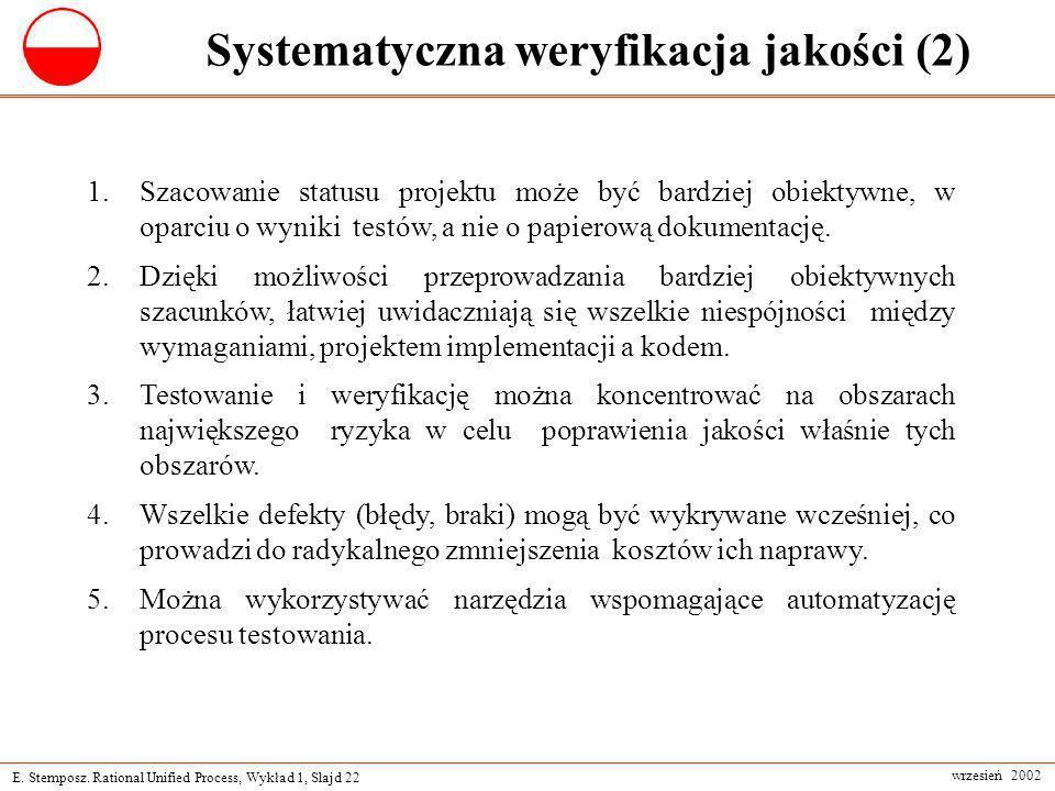 E. Stemposz. Rational Unified Process, Wykład 1, Slajd 22 wrzesień 2002 Systematyczna weryfikacja jakości (2) 1.Szacowanie statusu projektu może być b