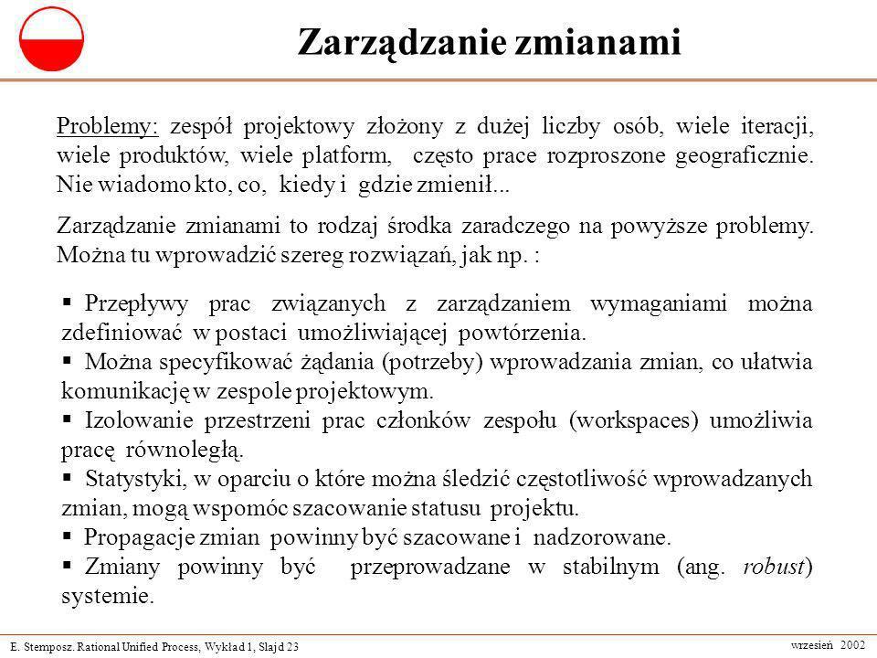 E. Stemposz. Rational Unified Process, Wykład 1, Slajd 23 wrzesień 2002 Zarządzanie zmianami Problemy: zespół projektowy złożony z dużej liczby osób,