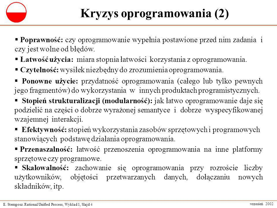 E. Stemposz. Rational Unified Process, Wykład 1, Slajd 4 wrzesień 2002 Kryzys oprogramowania (2) Poprawność: czy oprogramowanie wypełnia postawione pr