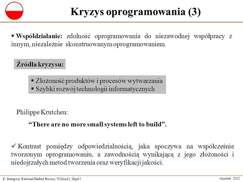 E. Stemposz. Rational Unified Process, Wykład 1, Slajd 5 wrzesień 2002 Kryzys oprogramowania (3) Współdziałanie: zdolność oprogramowania do niezawodne