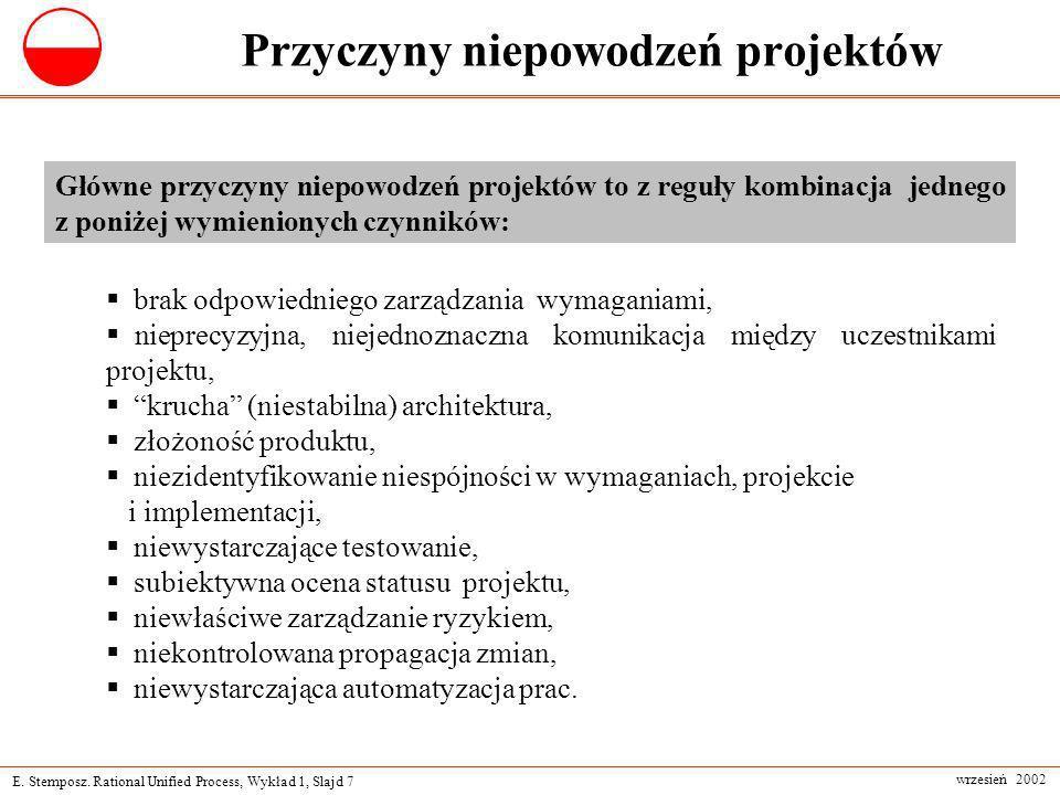 E. Stemposz. Rational Unified Process, Wykład 1, Slajd 7 wrzesień 2002 Przyczyny niepowodzeń projektów brak odpowiedniego zarządzania wymaganiami, nie