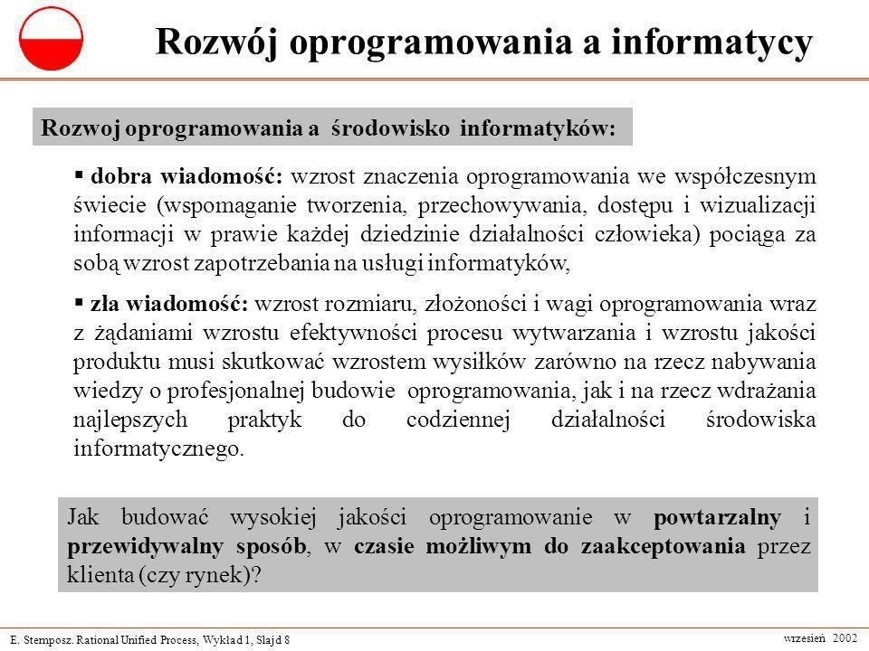 E. Stemposz. Rational Unified Process, Wykład 1, Slajd 8 wrzesień 2002 Rozwój oprogramowania a informatycy Rozwoj oprogramowania a środowisko informat