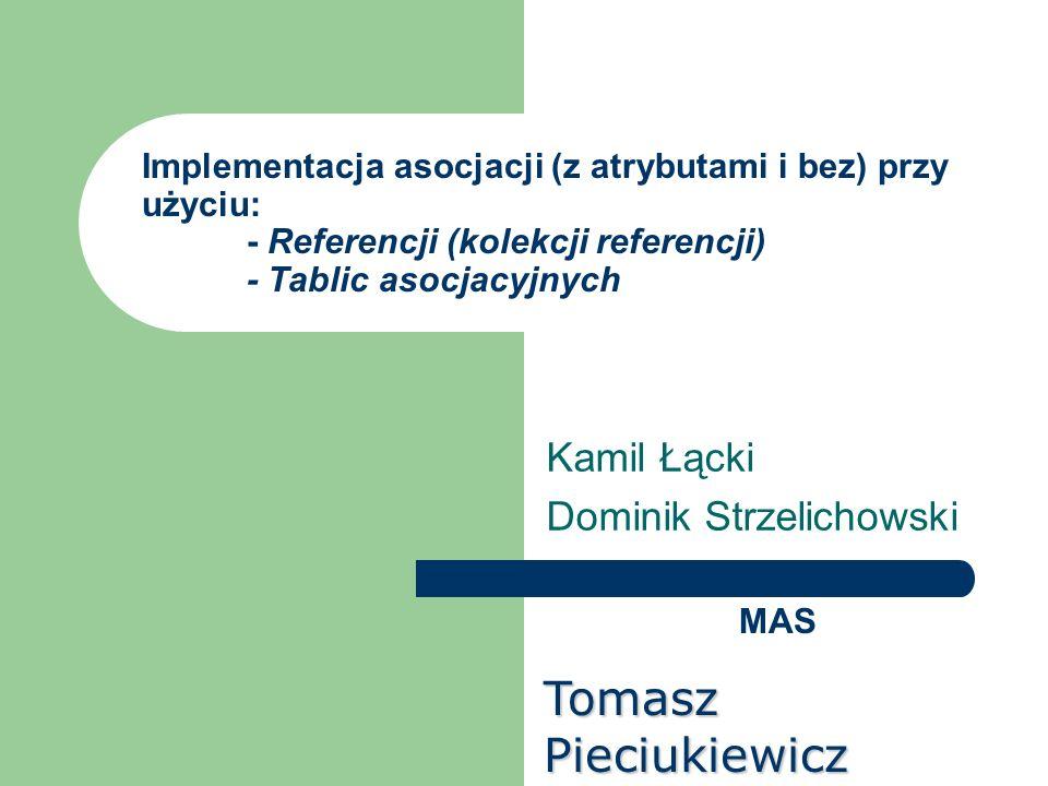 Implementacja asocjacji (z atrybutami i bez) przy użyciu: - Referencji (kolekcji referencji) - Tablic asocjacyjnych Kamil Łącki Dominik Strzelichowski
