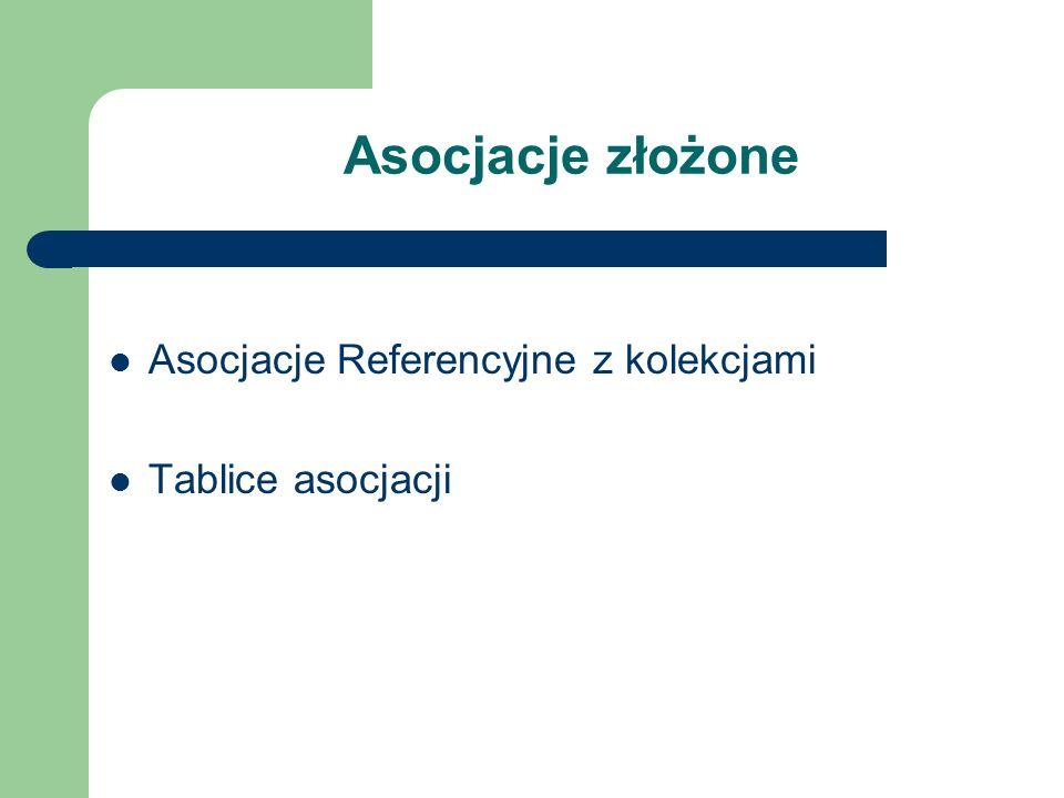 Asocjacje złożone Asocjacje Referencyjne z kolekcjami Tablice asocjacji