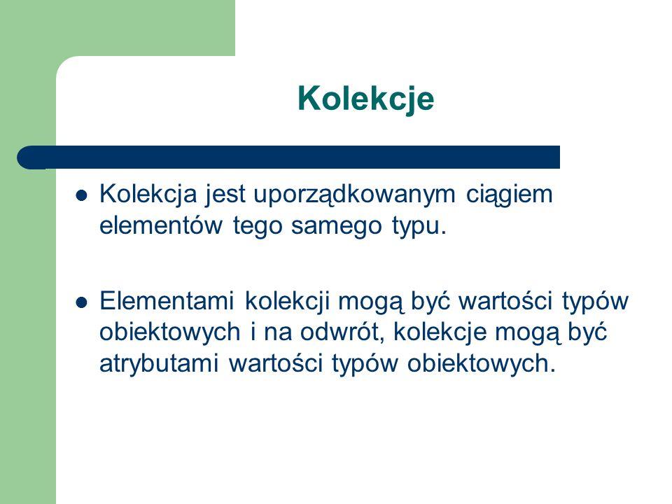 Kolekcje Kolekcja jest uporządkowanym ciągiem elementów tego samego typu. Elementami kolekcji mogą być wartości typów obiektowych i na odwrót, kolekcj