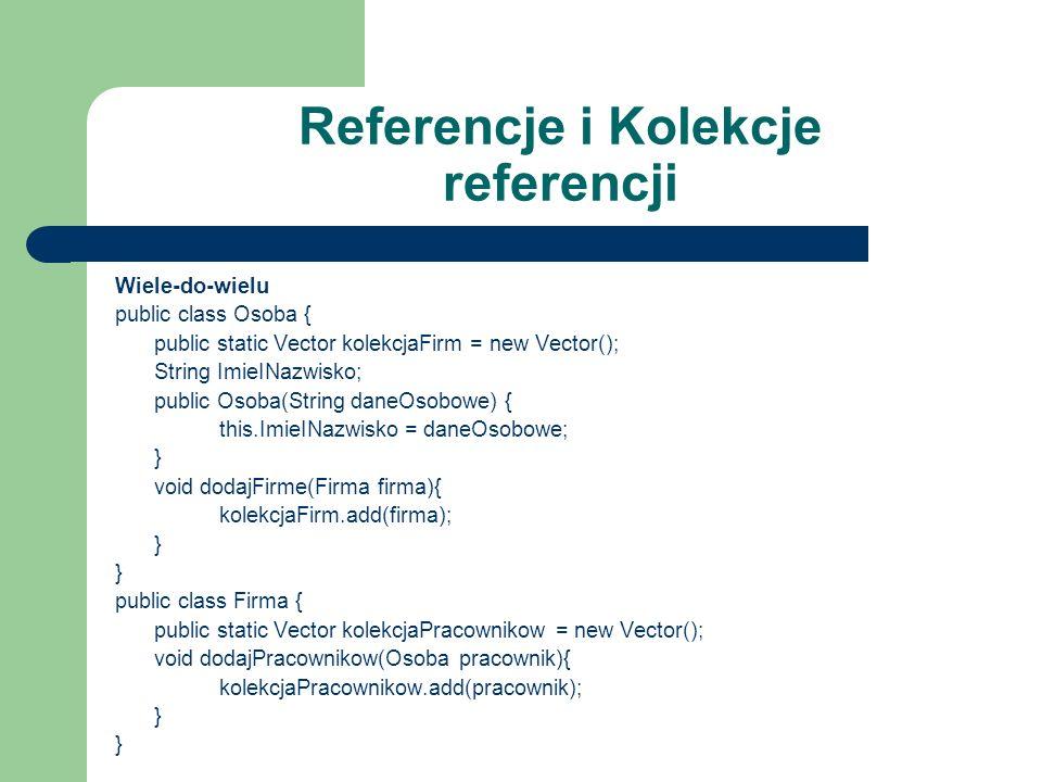 Referencje i Kolekcje referencji Wiele-do-wielu public class Osoba { public static Vector kolekcjaFirm = new Vector(); String ImieINazwisko; public Os