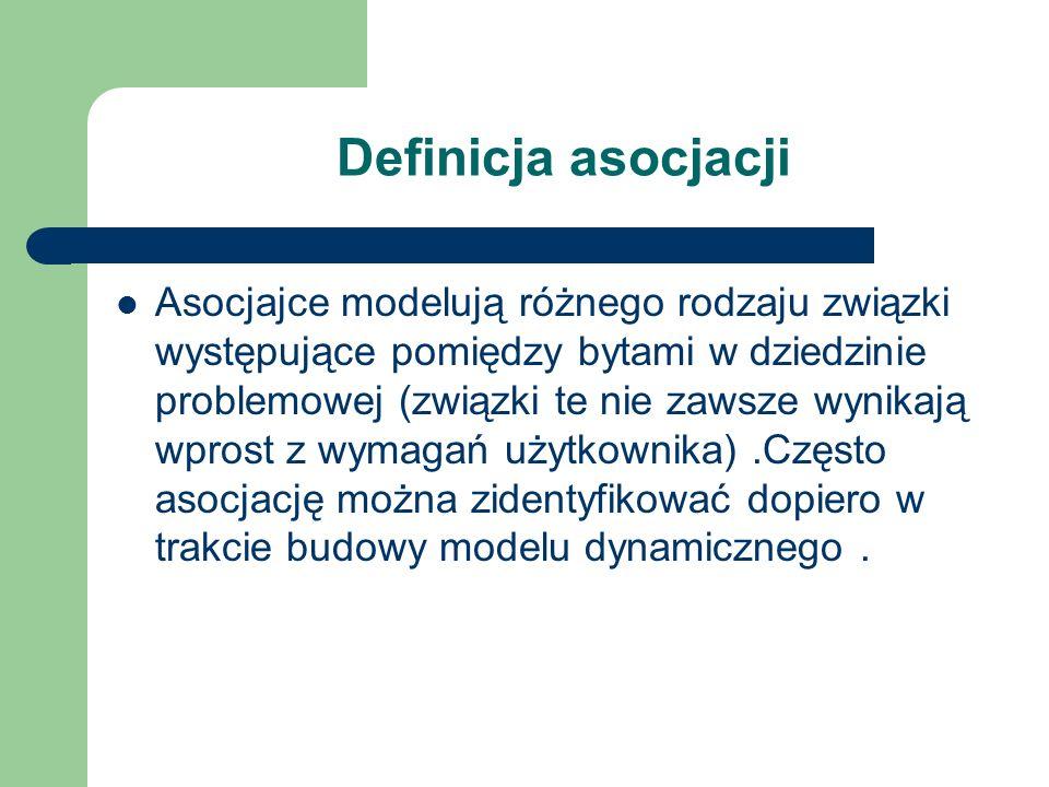 Definicja asocjacji Asocjajce modelują różnego rodzaju związki występujące pomiędzy bytami w dziedzinie problemowej (związki te nie zawsze wynikają wp
