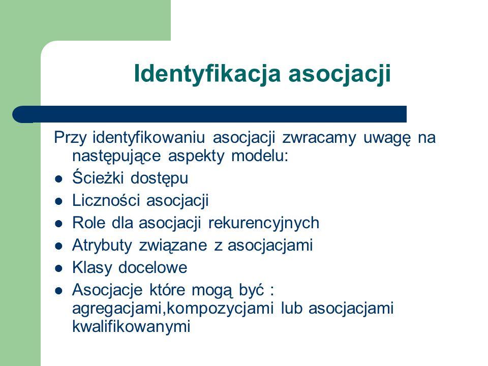Identyfikacja asocjacji Przy identyfikowaniu asocjacji zwracamy uwagę na następujące aspekty modelu: Ścieżki dostępu Liczności asocjacji Role dla asoc