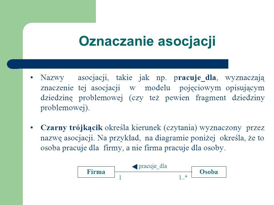 Oznaczanie asocjacji Nazwy asocjacji, takie jak np. pracuje_dla, wyznaczają znaczenie tej asocjacji w modelu pojęciowym opisującym dziedzinę problemow
