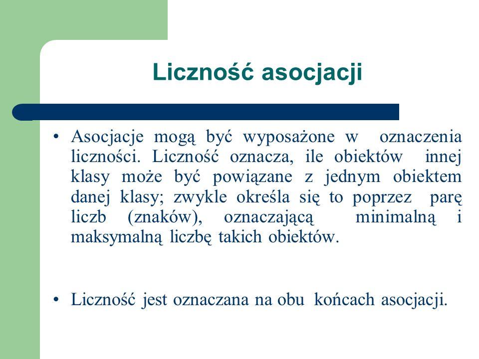 Liczność asocjacji Asocjacje mogą być wyposażone w oznaczenia liczności. Liczność oznacza, ile obiektów innej klasy może być powiązane z jednym obiekt