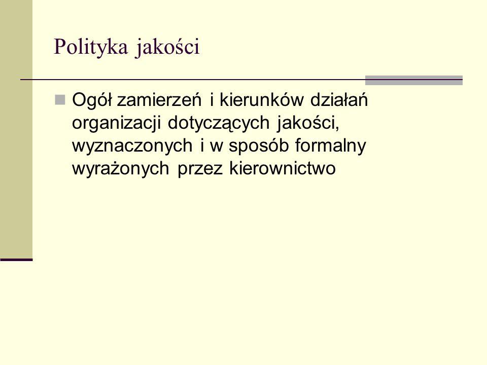 Polityka jakości Ogół zamierzeń i kierunków działań organizacji dotyczących jakości, wyznaczonych i w sposób formalny wyrażonych przez kierownictwo