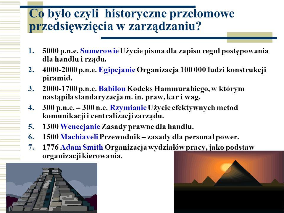 12 Co było czyli historyczne przełomowe przedsięwzięcia w zarządzaniu? 1.5000 p.n.e. Sumerowie Użycie pisma dla zapisu reguł postępowania dla handlu i