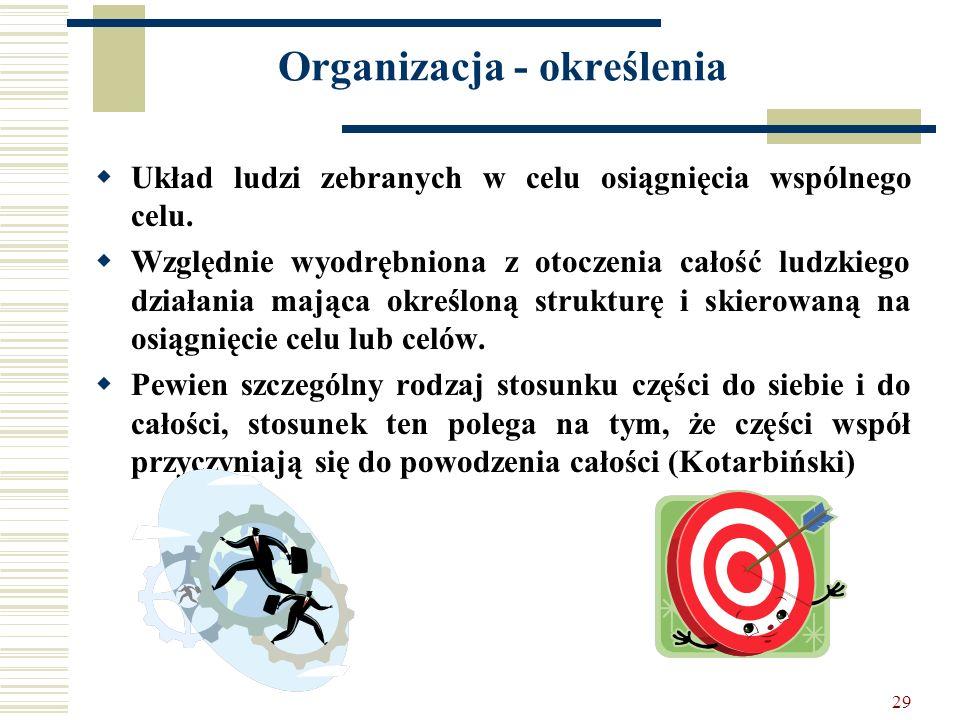 29 Organizacja - określenia Układ ludzi zebranych w celu osiągnięcia wspólnego celu. Względnie wyodrębniona z otoczenia całość ludzkiego działania maj