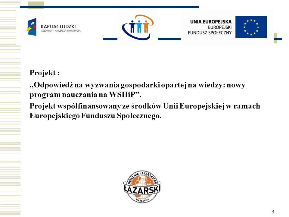 3 Projekt : Odpowiedź na wyzwania gospodarki opartej na wiedzy: nowy program nauczania na WSHiP. Projekt współfinansowany ze środków Unii Europejskiej