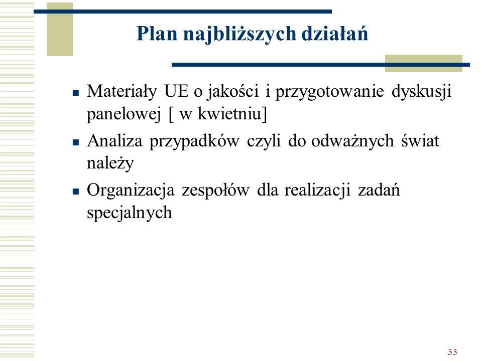 33 Plan najbliższych działań Materiały UE o jakości i przygotowanie dyskusji panelowej [ w kwietniu] Analiza przypadków czyli do odważnych świat należ