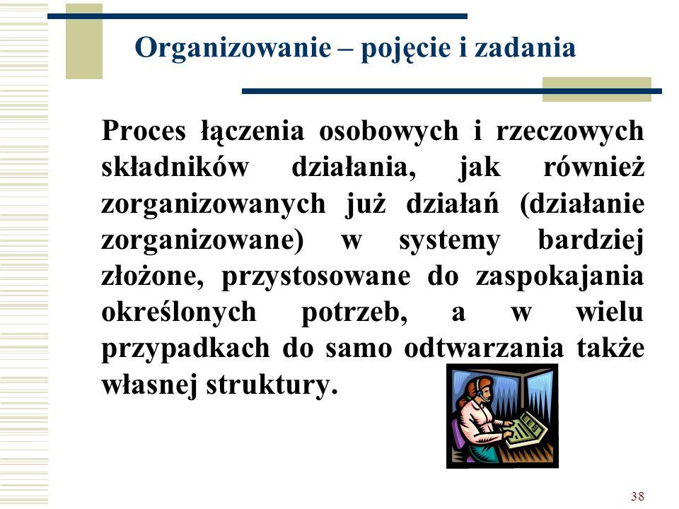 38 Organizowanie – pojęcie i zadania Proces łączenia osobowych i rzeczowych składników działania, jak również zorganizowanych już działań (działanie z