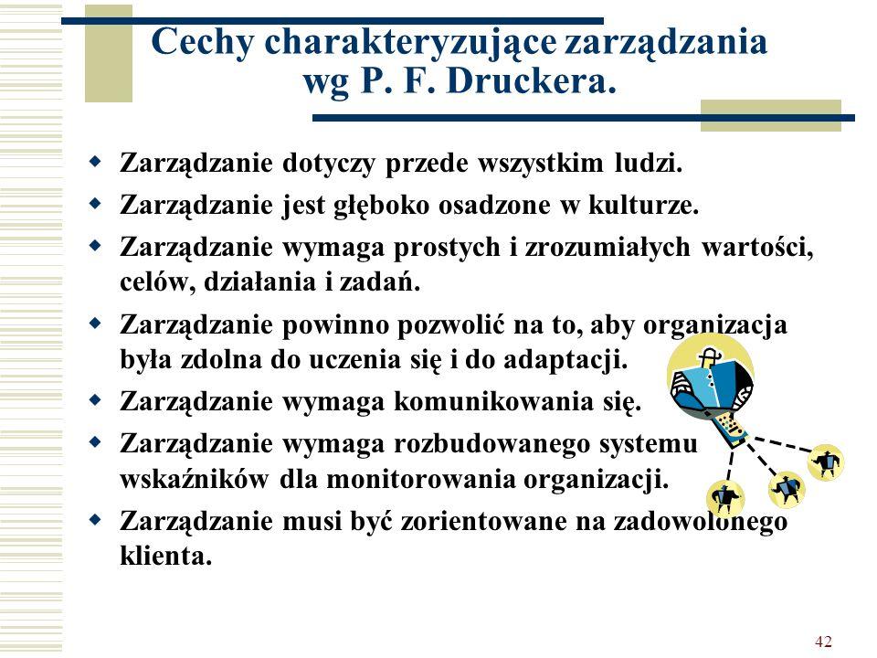 42 Cechy charakteryzujące zarządzania wg P. F. Druckera. Zarządzanie dotyczy przede wszystkim ludzi. Zarządzanie jest głęboko osadzone w kulturze. Zar