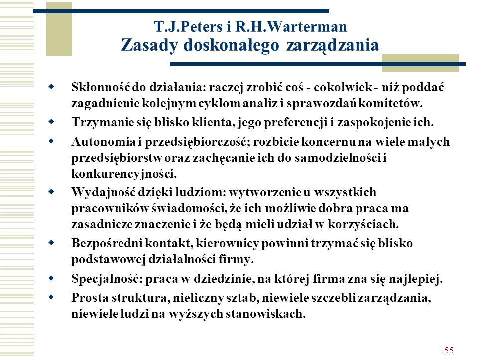55 T.J.Peters i R.H.Warterman Zasady doskonałego zarządzania Skłonność do działania: raczej zrobić coś - cokolwiek - niż poddać zagadnienie kolejnym c
