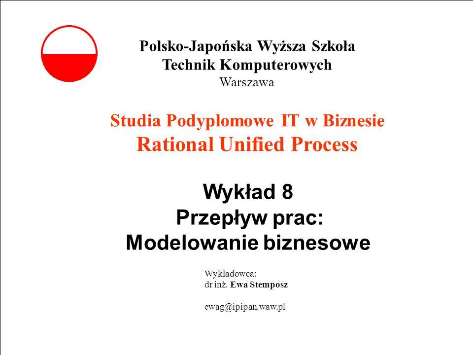 E. Stemposz. Rational Unified Process, Wykład 8, Slajd 1 wrzesień 2002 Studia Podyplomowe IT w Biznesie Rational Unified Process Wykład 8 Przepływ pra