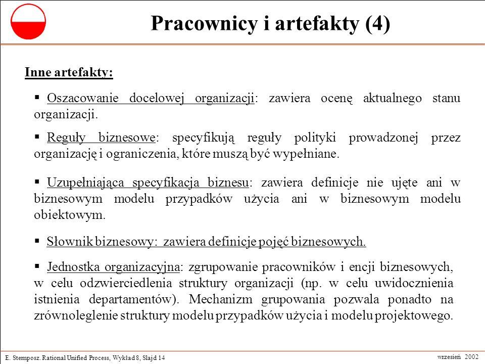 E. Stemposz. Rational Unified Process, Wykład 8, Slajd 14 wrzesień 2002 Pracownicy i artefakty (4) Jednostka organizacyjna: zgrupowanie pracowników i