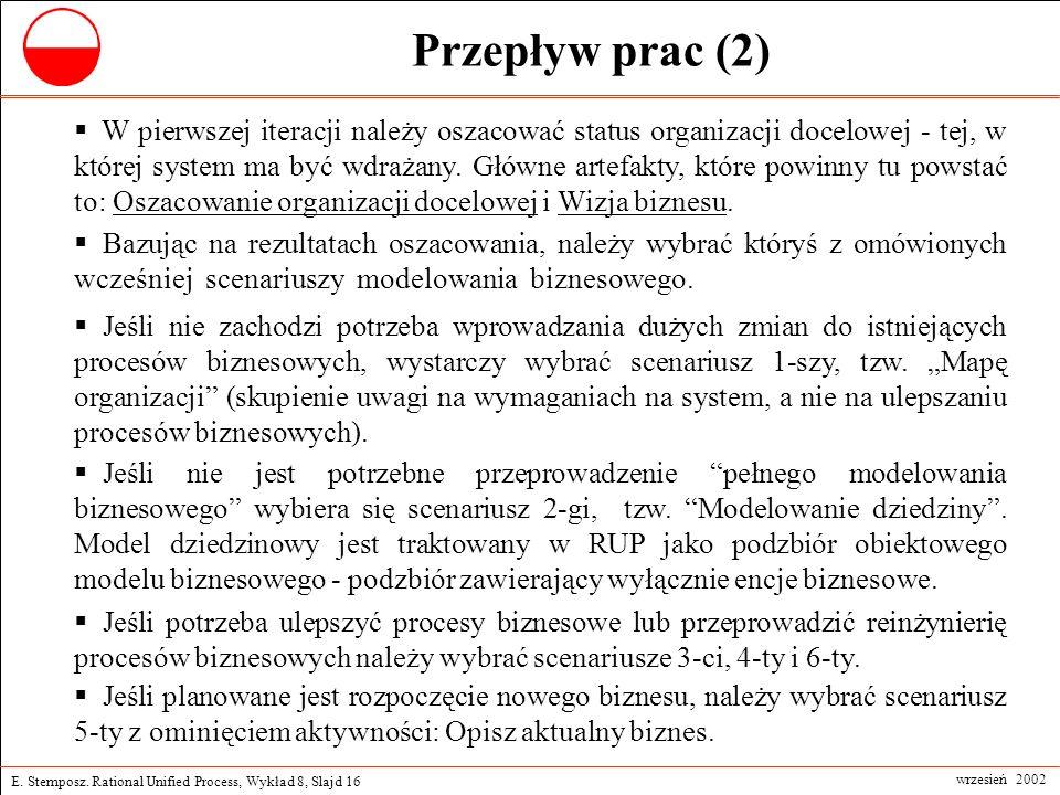 E. Stemposz. Rational Unified Process, Wykład 8, Slajd 16 wrzesień 2002 Przepływ prac (2) W pierwszej iteracji należy oszacować status organizacji doc