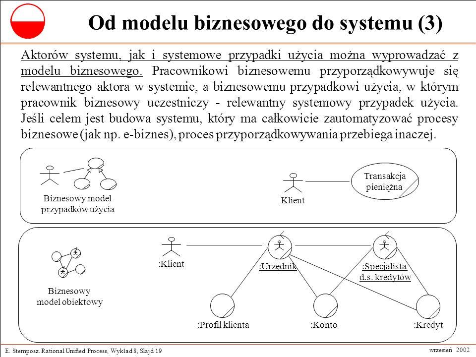 E. Stemposz. Rational Unified Process, Wykład 8, Slajd 19 wrzesień 2002 Od modelu biznesowego do systemu (3) Aktorów systemu, jak i systemowe przypadk