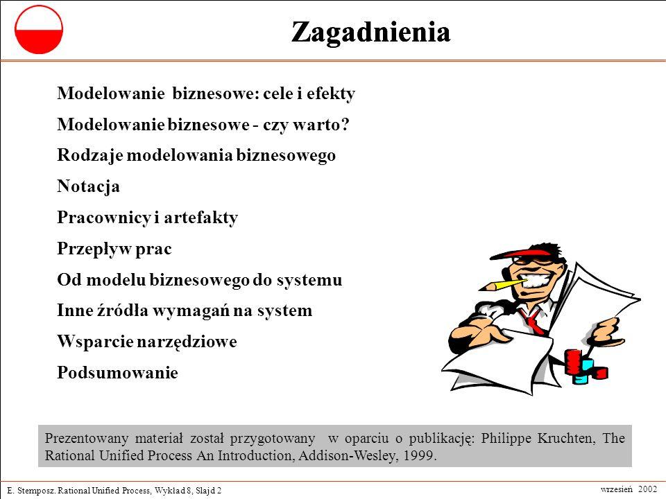 E. Stemposz. Rational Unified Process, Wykład 8, Slajd 2 wrzesień 2002 Zagadnienia Modelowanie biznesowe: cele i efekty Modelowanie biznesowe - czy wa