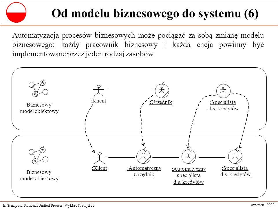 E. Stemposz. Rational Unified Process, Wykład 8, Slajd 22 wrzesień 2002 Od modelu biznesowego do systemu (6) Automatyzacja procesów biznesowych może p