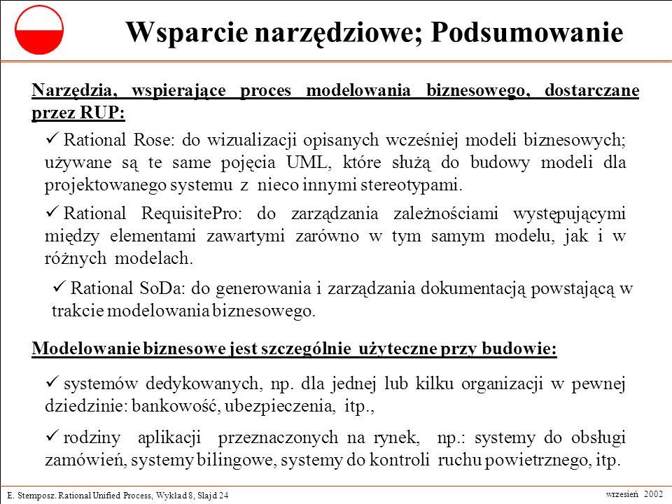 E. Stemposz. Rational Unified Process, Wykład 8, Slajd 24 wrzesień 2002 Wsparcie narzędziowe; Podsumowanie Rational Rose: do wizualizacji opisanych wc