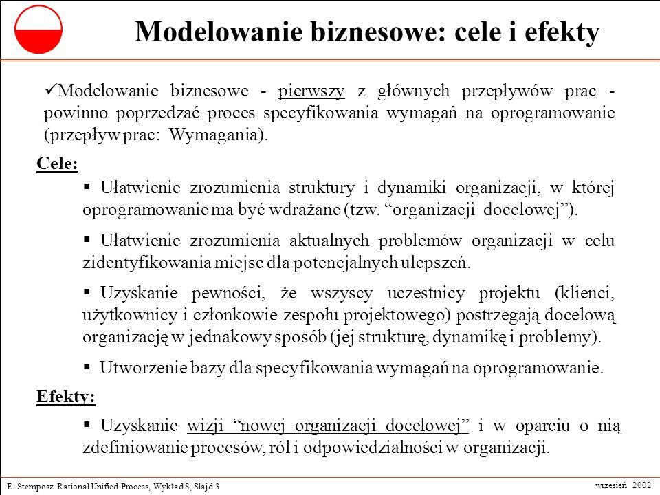 E. Stemposz. Rational Unified Process, Wykład 8, Slajd 3 wrzesień 2002 Modelowanie biznesowe: cele i efekty Modelowanie biznesowe - pierwszy z głównyc