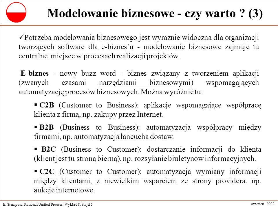 E. Stemposz. Rational Unified Process, Wykład 8, Slajd 6 wrzesień 2002 Modelowanie biznesowe - czy warto ? (3) E-biznes - nowy buzz word - biznes zwią
