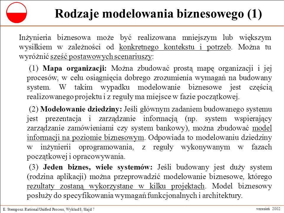 E. Stemposz. Rational Unified Process, Wykład 8, Slajd 7 wrzesień 2002 Rodzaje modelowania biznesowego (1) Inżynieria biznesowa może być realizowana m