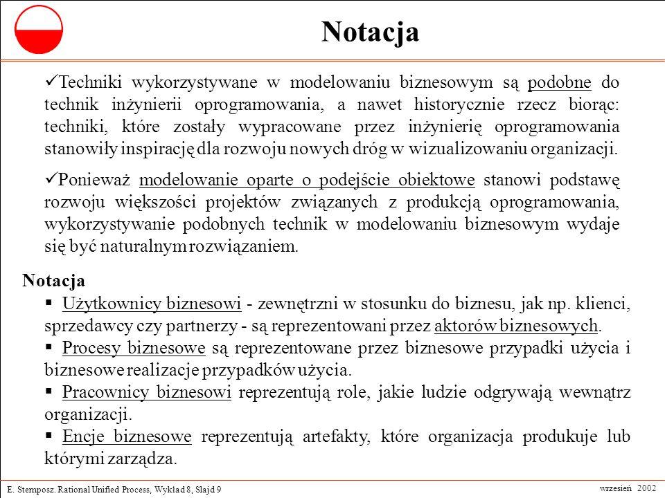 E. Stemposz. Rational Unified Process, Wykład 8, Slajd 9 wrzesień 2002 Notacja Techniki wykorzystywane w modelowaniu biznesowym są podobne do technik