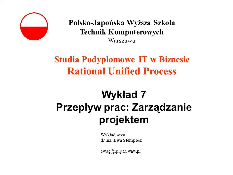 E. Stemposz. Rational Unified Process, Wykład 7, Slajd 1 wrzesień 2002 Powrót Studia Podyplomowe IT w Biznesie Rational Unified Process Wykład 7 Przep