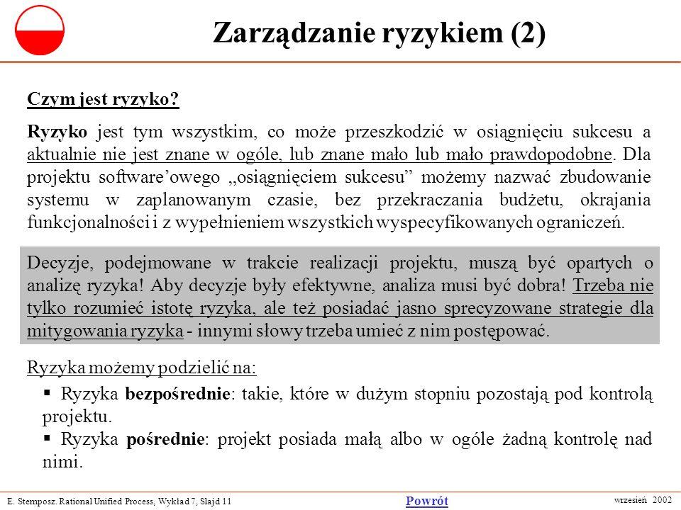 E. Stemposz. Rational Unified Process, Wykład 7, Slajd 11 wrzesień 2002 Powrót Zarządzanie ryzykiem (2) Czym jest ryzyko? Decyzje, podejmowane w trakc