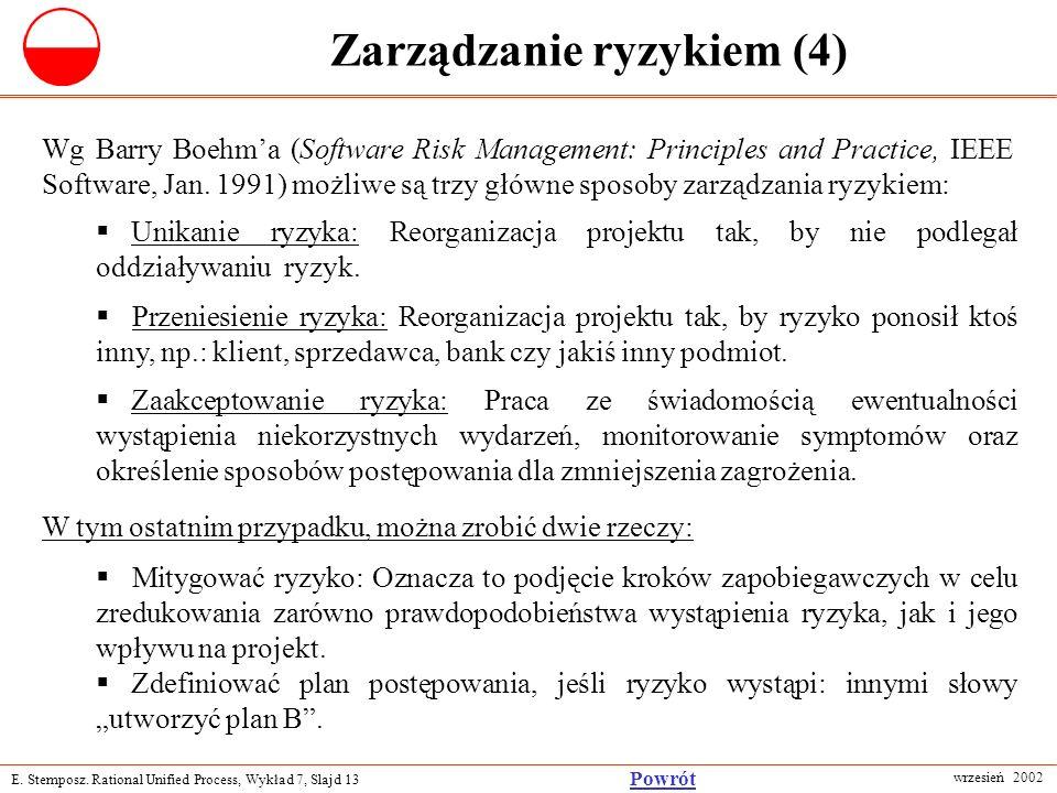 E. Stemposz. Rational Unified Process, Wykład 7, Slajd 13 wrzesień 2002 Powrót Zarządzanie ryzykiem (4) Wg Barry Boehma (Software Risk Management: Pri