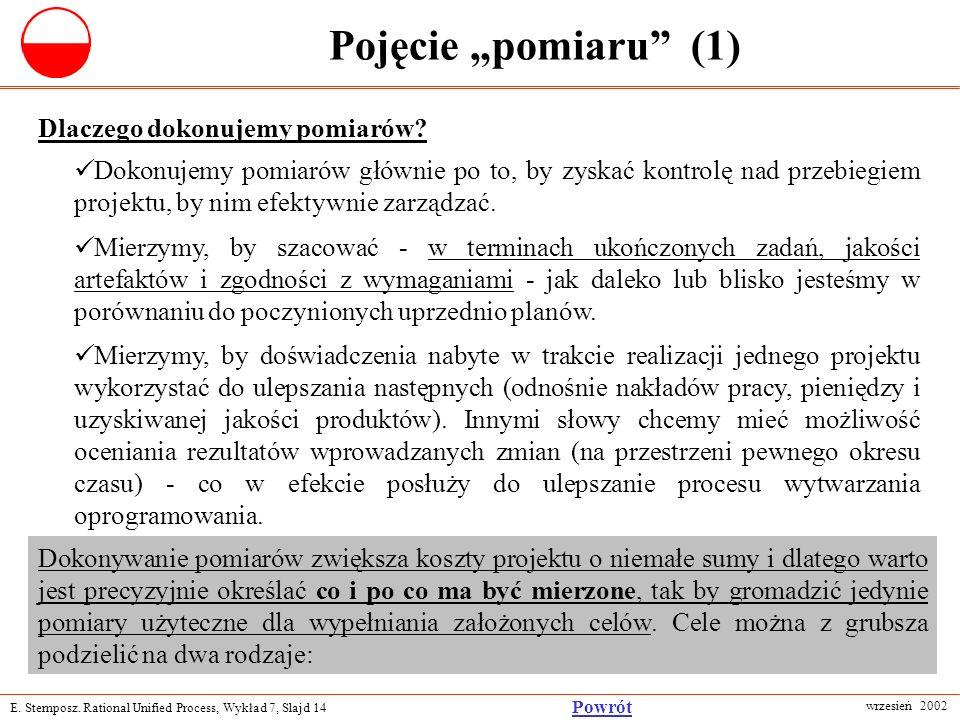 E. Stemposz. Rational Unified Process, Wykład 7, Slajd 14 wrzesień 2002 Powrót Pojęcie pomiaru (1) Dlaczego dokonujemy pomiarów? Dokonujemy pomiarów g