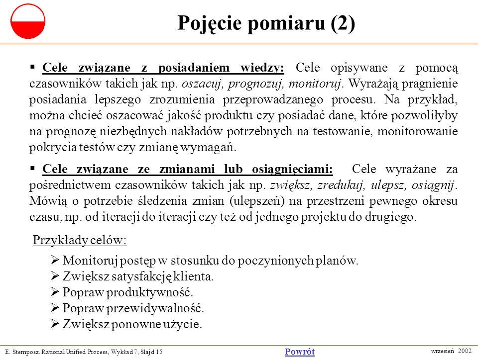 E. Stemposz. Rational Unified Process, Wykład 7, Slajd 15 wrzesień 2002 Powrót Pojęcie pomiaru (2) Cele związane z posiadaniem wiedzy: Cele opisywane