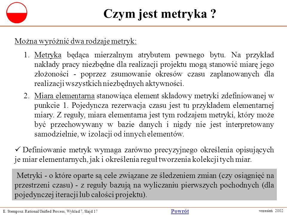 E. Stemposz. Rational Unified Process, Wykład 7, Slajd 17 wrzesień 2002 Powrót Czym jest metryka ? Można wyróżnić dwa rodzaje metryk: 1.Metryka będąca