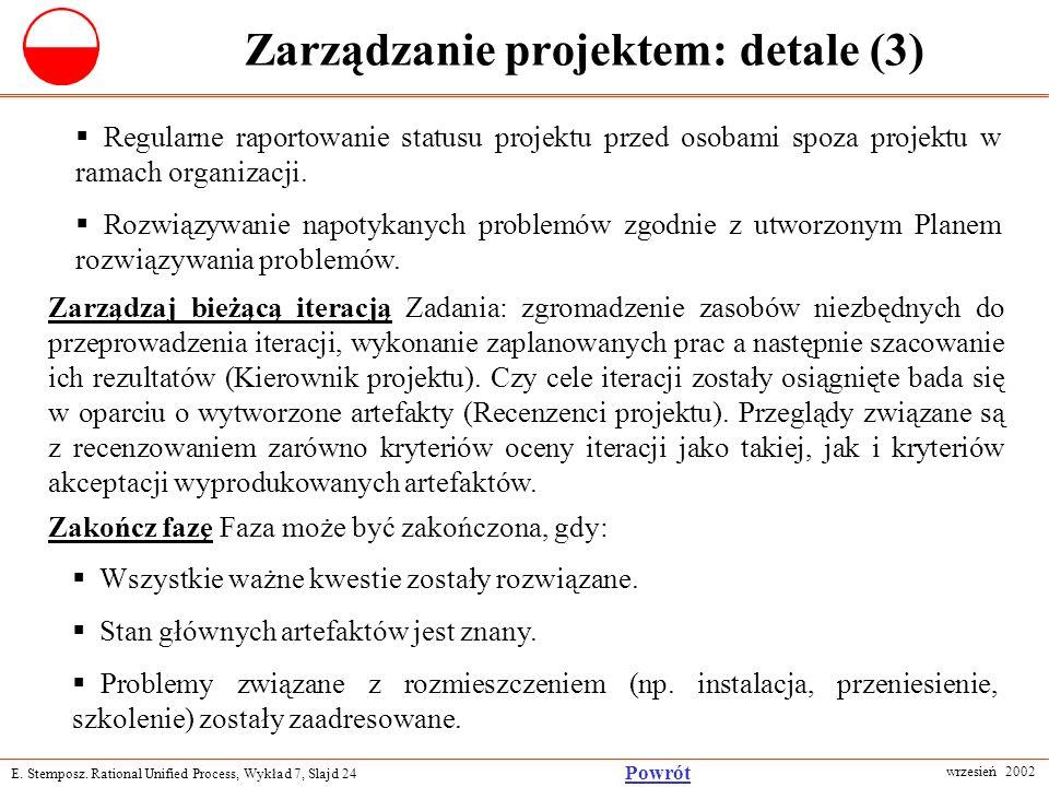 E. Stemposz. Rational Unified Process, Wykład 7, Slajd 24 wrzesień 2002 Powrót Zarządzanie projektem: detale (3) Regularne raportowanie statusu projek