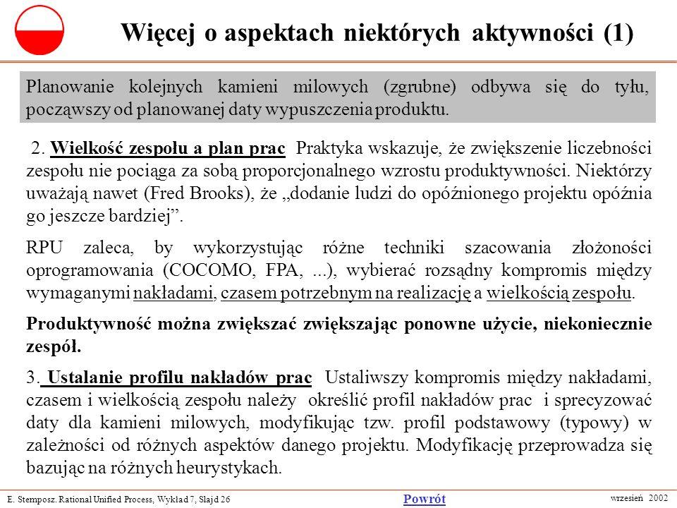 E. Stemposz. Rational Unified Process, Wykład 7, Slajd 26 wrzesień 2002 Powrót Więcej o aspektach niektórych aktywności (1) Planowanie kolejnych kamie