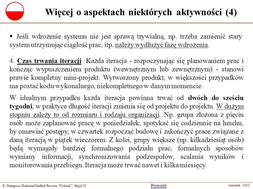 E. Stemposz. Rational Unified Process, Wykład 7, Slajd 29 wrzesień 2002 Powrót Więcej o aspektach niektórych aktywności (4) Jeśli wdrożenie systemu ni