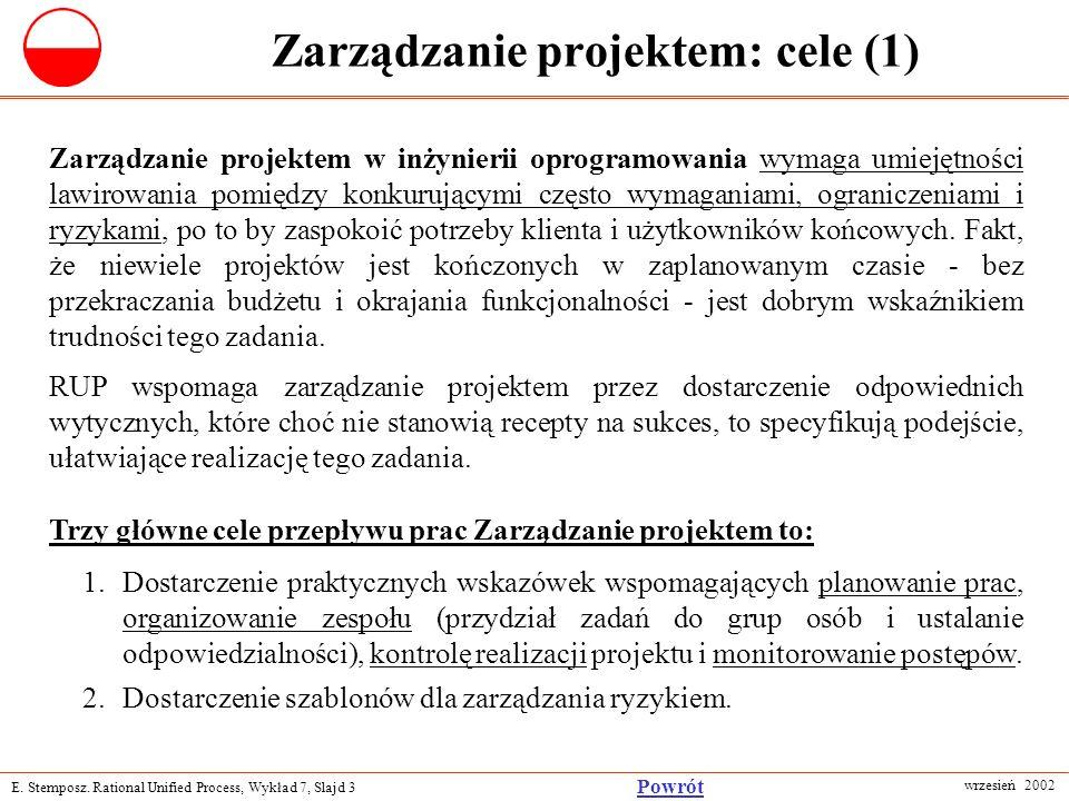 E. Stemposz. Rational Unified Process, Wykład 7, Slajd 3 wrzesień 2002 Powrót Zarządzanie projektem: cele (1) Zarządzanie projektem w inżynierii oprog