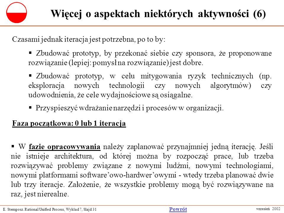 E. Stemposz. Rational Unified Process, Wykład 7, Slajd 31 wrzesień 2002 Powrót Więcej o aspektach niektórych aktywności (6) Zbudować prototyp, by prze