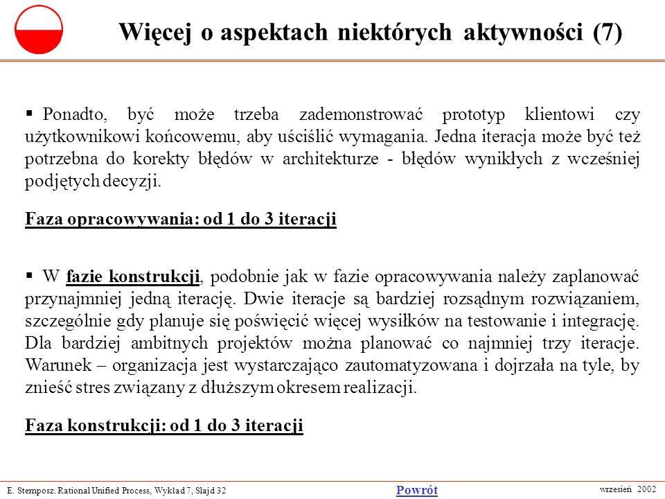 E. Stemposz. Rational Unified Process, Wykład 7, Slajd 32 wrzesień 2002 Powrót Więcej o aspektach niektórych aktywności (7) Ponadto, być może trzeba z