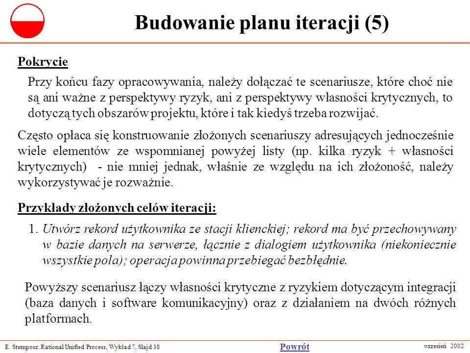 E. Stemposz. Rational Unified Process, Wykład 7, Slajd 38 wrzesień 2002 Powrót Budowanie planu iteracji (5) Pokrycie Przy końcu fazy opracowywania, na